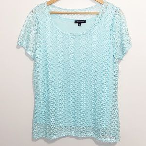 Notations Crochet lace turquoise blouse Medium